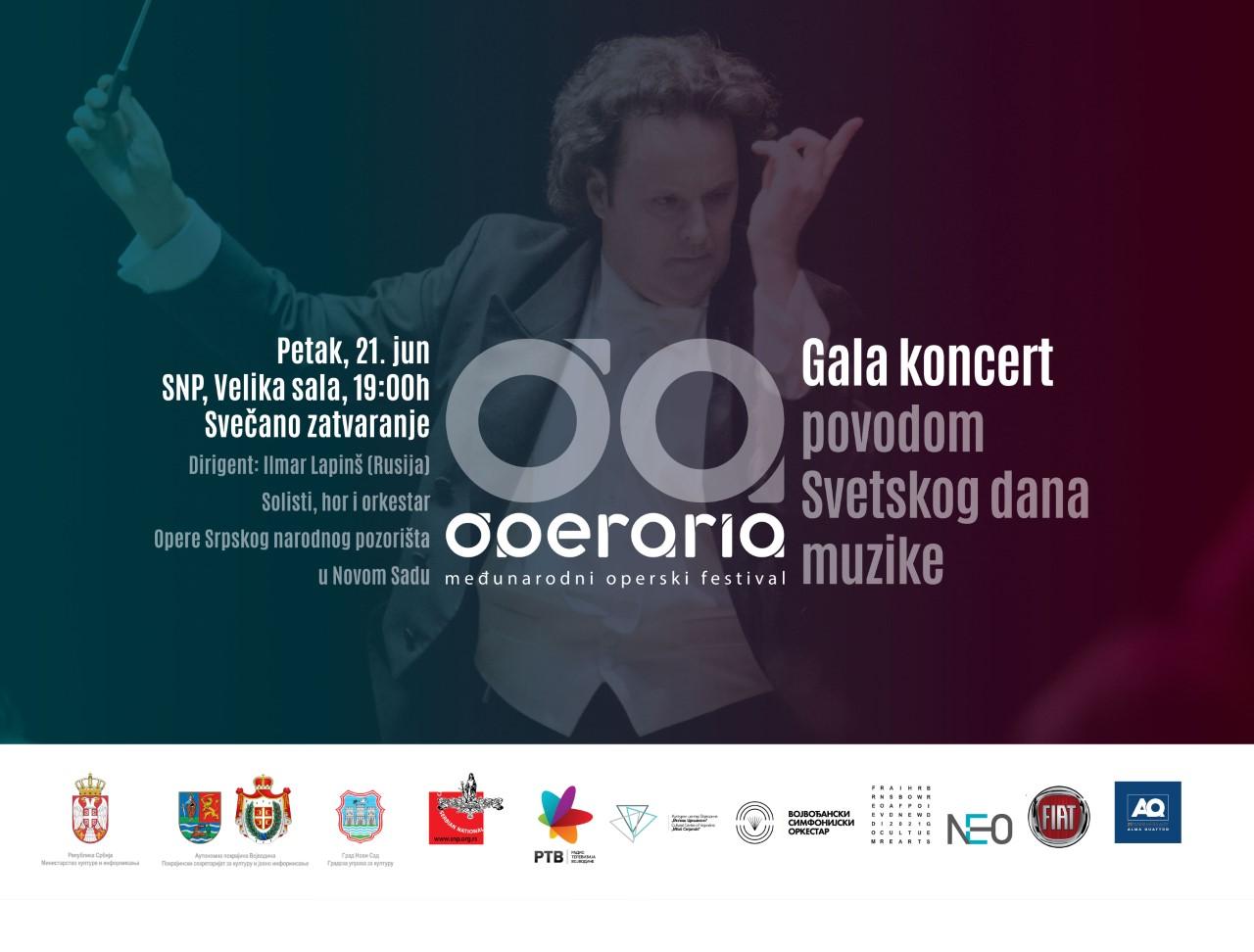 Svečano zatvaranje festivala Operaria - Gala koncert povodom Svetskog dana muzike