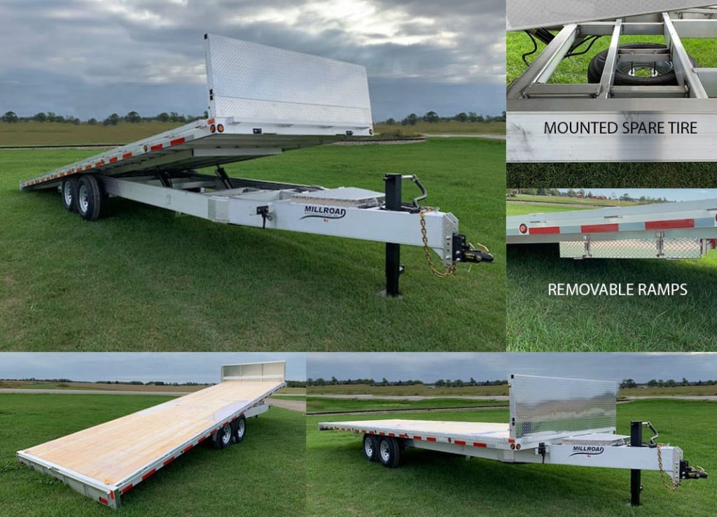 MOD28T-7 W/ REMOVABLE FRONT WALL, RAMPS & MOUNTED SPARE TIRE