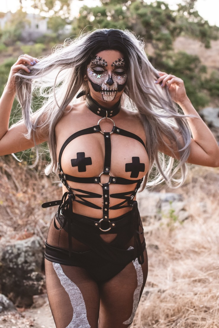 Beautiful silver haired crystal skull girl.