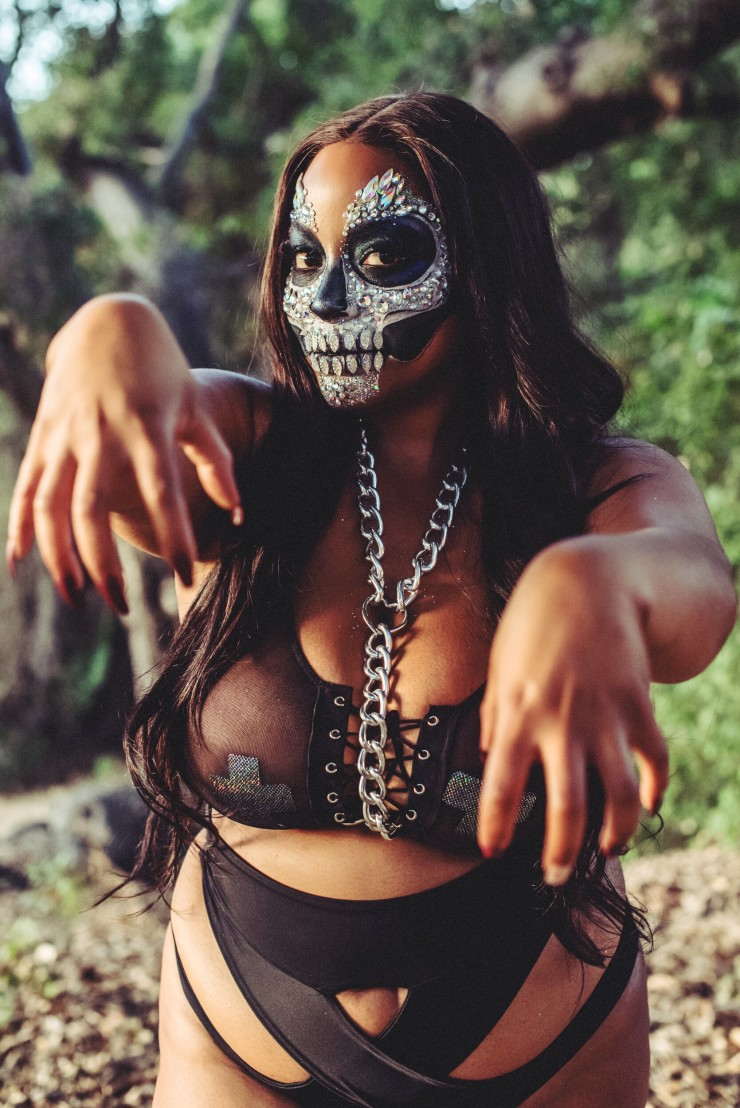 Beautiful crystal skull girl dances.