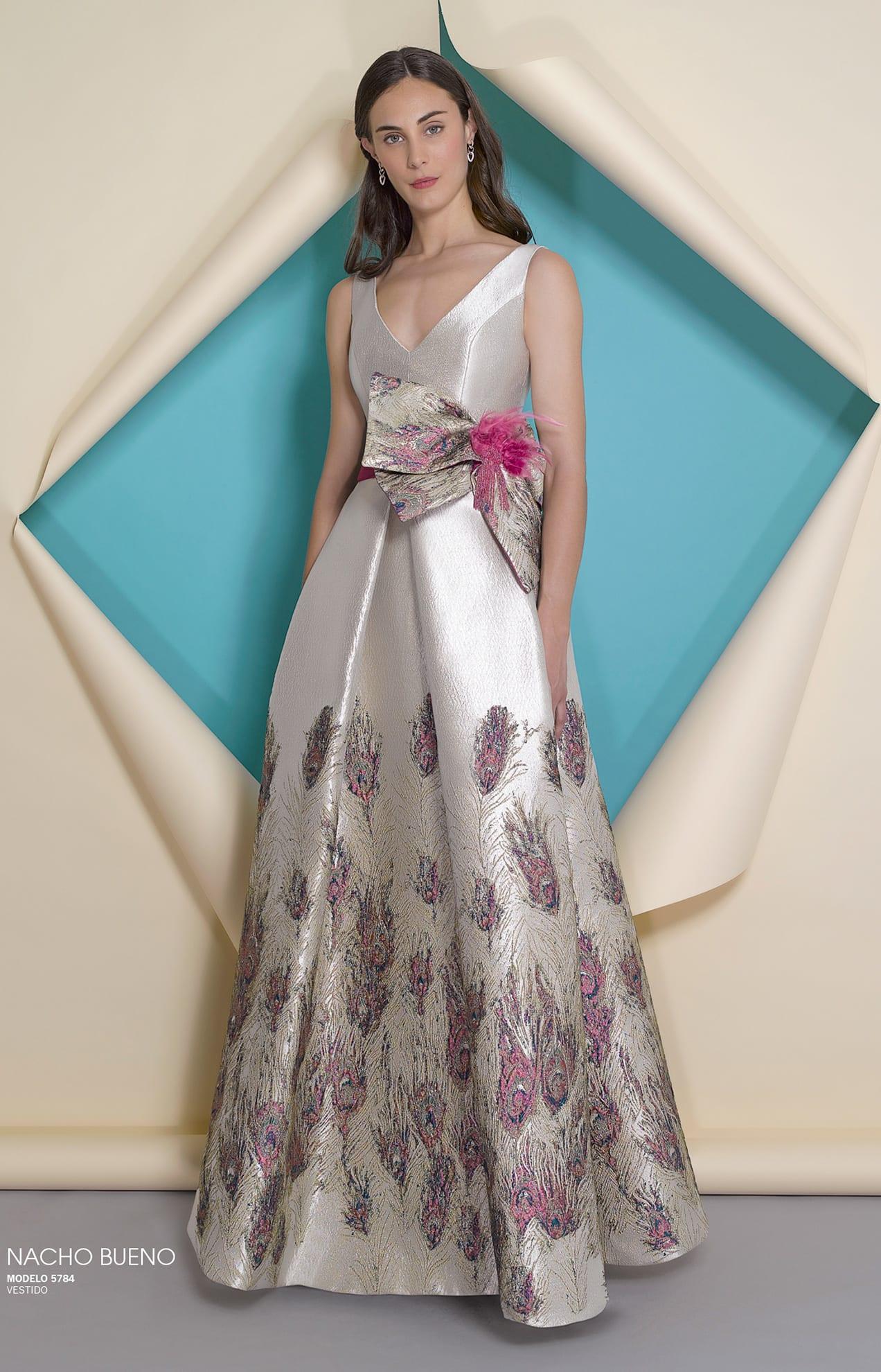 vestido de gala valencia estampado de plimas