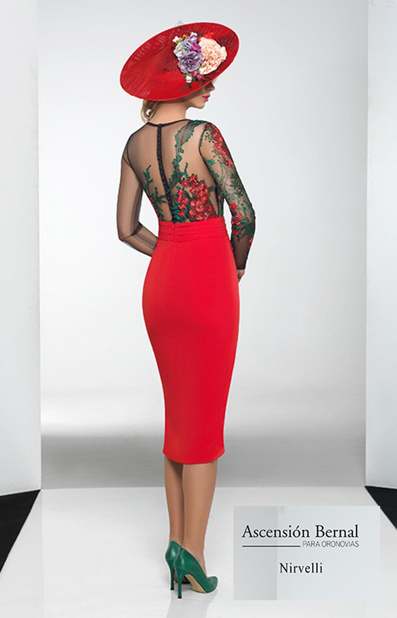 vestido semi-transparente color rojo en valencia