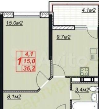 1-к квартира, 42 м², 5/13 эт.