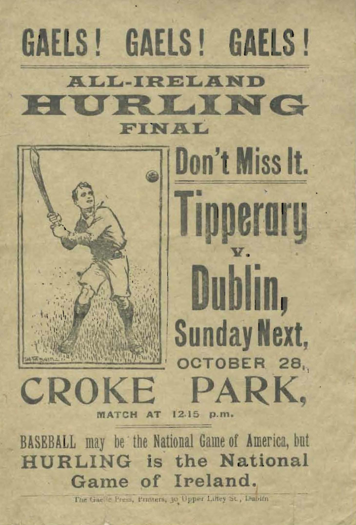 1917 Hurling All-Ireland Final Flyer
