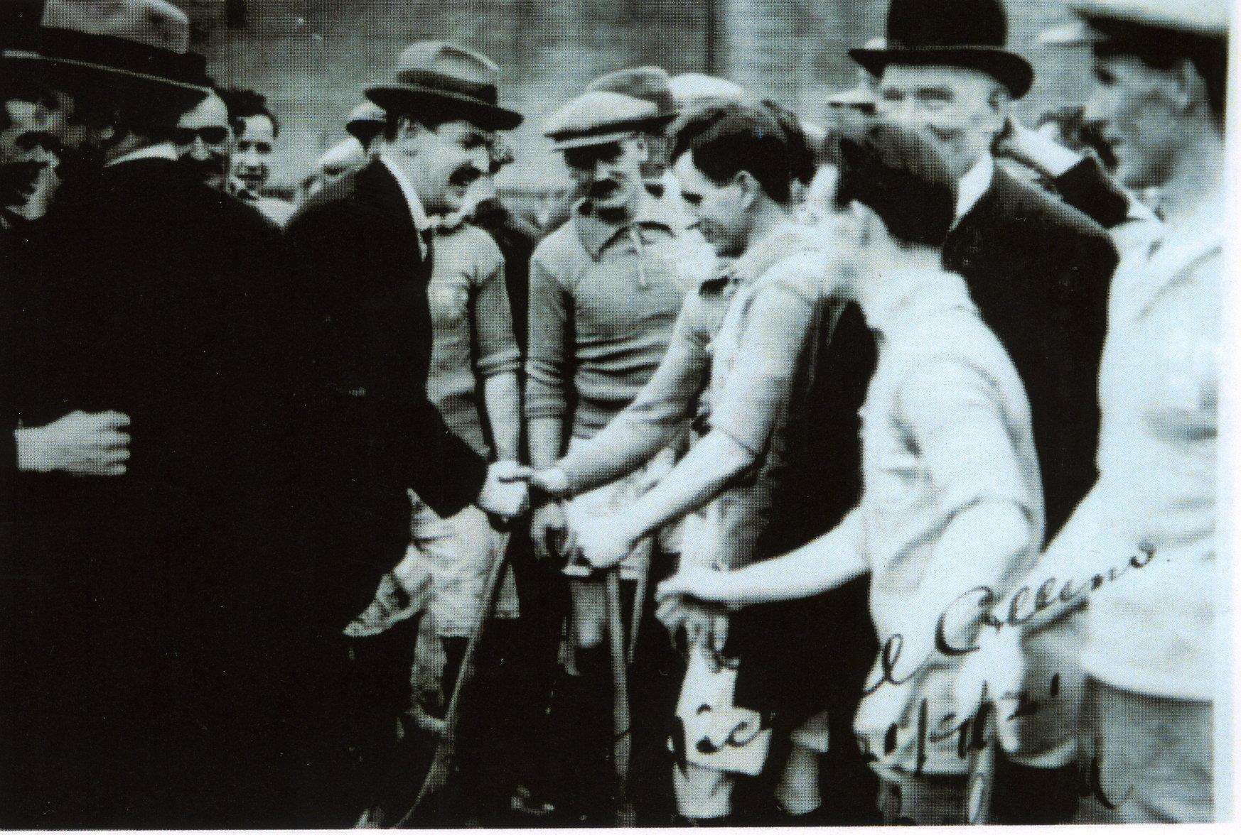 Michael Collins meeting the Dublin team at Croke Park, 1921