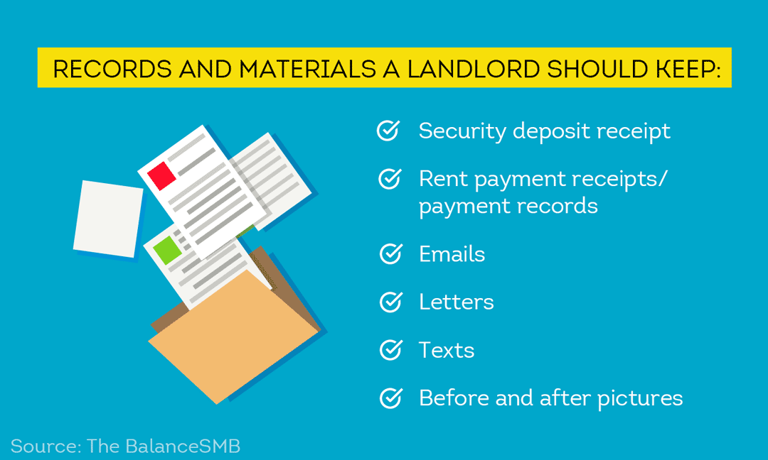 List of the records and materials a landlord should keep