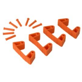 Lot de 4 clips caoutchouc pour support mural orange photo du produit