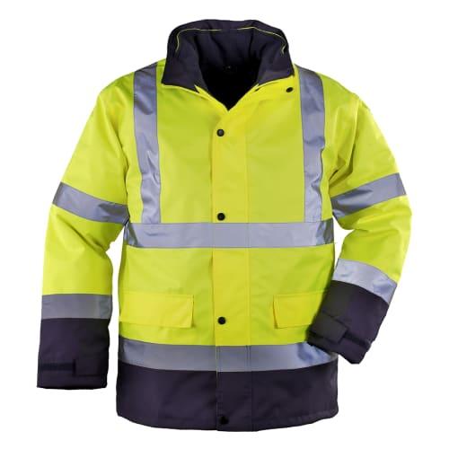 Parka haute-visibilité 4-en-1 polyester enduit PU jaune/bleu taille M (44/46) photo du produit