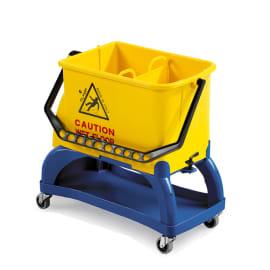 Seau bi-bac PLP 2 x 8L jaune avec roues et support porte-produits photo du produit