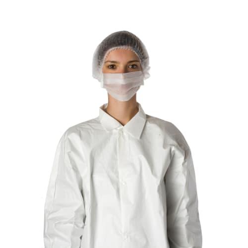 Masque d hygiène 1 pli papier blanc à élastiques photo du produit