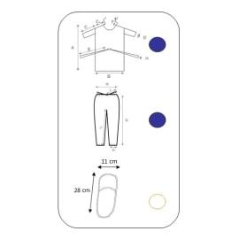 Kit ambulatoire 3 pièces (blouse opéré SMS bleu foncé, pantalon SMS à liens bleu foncé, mules confort blanches) taille L photo du produit