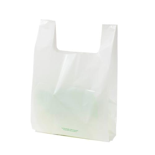 Sac plastique PE BD 260 x 450 mm blanc 50µm avec bretelles photo du produit