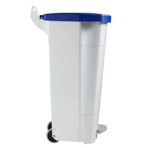 Poubelle mobile plastique à pédale 90L blanc/bleu photo du produit Side View L