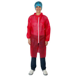 Blouse de travail PLP 25g/m² zip col chemise élastiques poignets rouge taille XXL photo du produit
