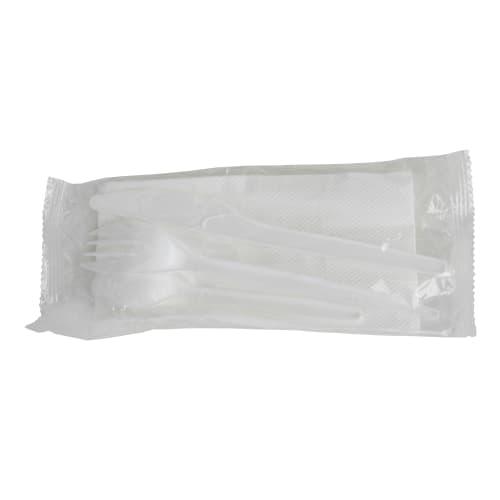 Kit couverts plastique blanc photo du produit