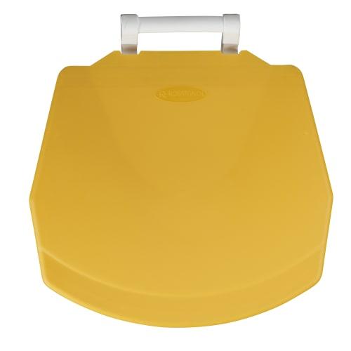 Poubelle mobile plastique àpédale 90L blanc/jaune photo du produit Back View L