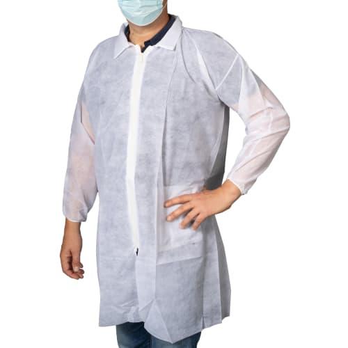 Blouse PLP 40 g/m² à col fermeture Zip poche intérieure blanc taille 3 (L) photo du produit