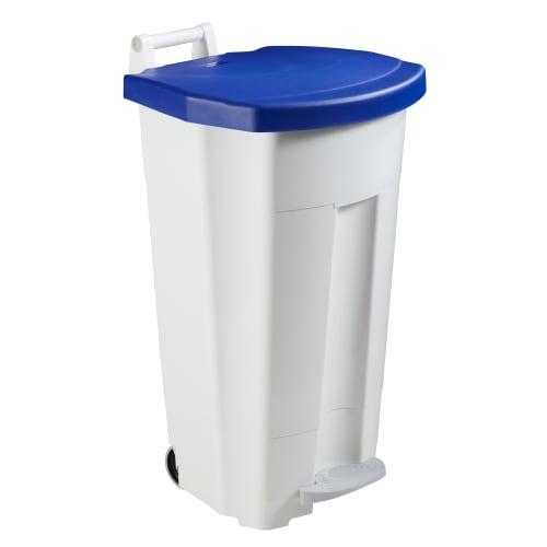 Poubelle mobile plastique à pédale 90L blanc/bleu photo du produit