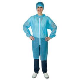 Blouse de travail PLP 40g/m² zip col chemise élastiques poignets bleu clair taille L photo du produit