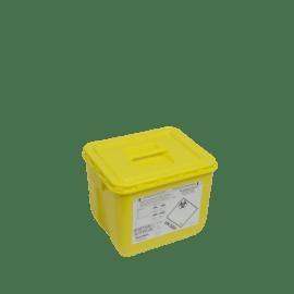 KIT fût DASRI VAT 5 30L rectangulaire jaune et couvercle à poignée photo du produit
