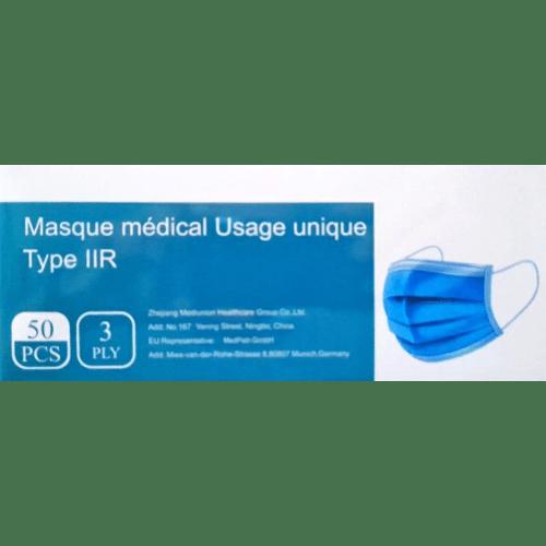 Masque médical type IIR bleu à élastiques photo du produit Back View L