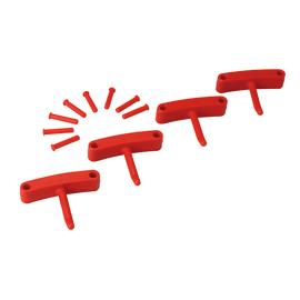 Lot de 4 crochets pour support mural rouge photo du produit