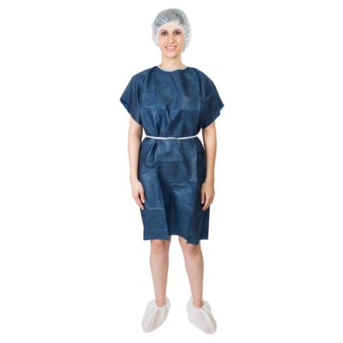 Kit d opéré complet (blouse SMS bleu foncé manches courtes, charlotte PLP blanc, surchaussures PLP blanc, slip PLP bleu foncé) taille enfant photo du produit