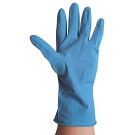 Gant ménage Sempervelvet latex bleu flockage coton taille S (6/7) photo du produit