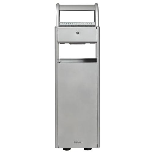 Combiné cendrier poubelle métal 6L/30L gris photo du produit Back View L