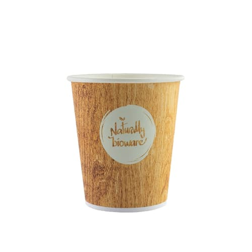 Gobelet carton compostable Bioware 10cl impression bois photo du produit