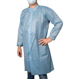 Blouse de laboratoire PLP 50g/m² col chemise sans poche élastiques poignets bleu taille L photo du produit
