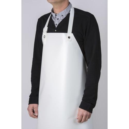 Tablier PVC blanc 90 x 115 cm avec attaches standards photo du produit