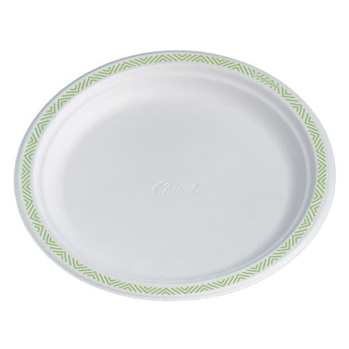 Assiette fibres végétales compostable ronde Ø170mm blanc à motifs photo du produit