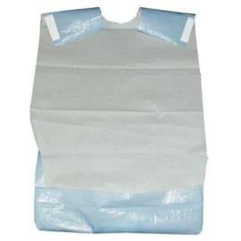 Bavoir ouate 21g/m² et PE 12µm à adhésifs avec poche bleu 38 x 65 cm photo du produit
