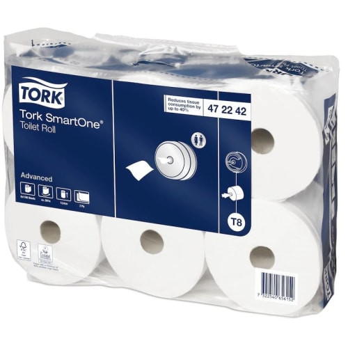 Papier toilette rouleau mini géant blanc 2 plis 207m prédécoupé 13,4 x 18 cm certifié Ecolabel photo du produit Side View L
