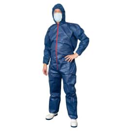 Combinaison Poligard PLP 70g/m² 2 poches pantalon élastiques cagoule poignets taille chevilles bleu taille XL photo du produit