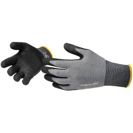 Gant manipulation fine Dext 00 polyamide/élasthane gris enduction mousse nitrile noir paume et bouts de doigts taille 10 photo du produit
