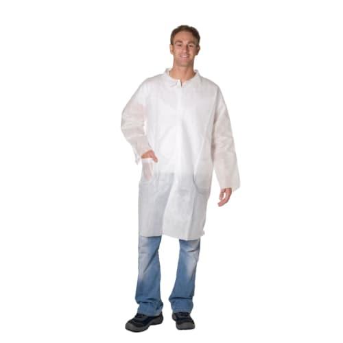 Blouse de laboratoire Poligard PLP 50g/m² pressions col chemise 2 poches blanc taille L photo du produit