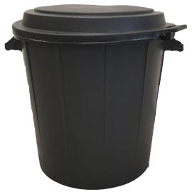 Poubelle plastique ronde noire 80L avec couvercle photo du produit