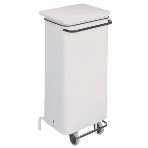 Poubelle mobile carénée métal à pédale 110L blanc photo du produit