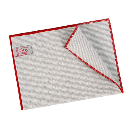 Essuyage microfibre Mini 320 gris surjet rouge 23 x 35 cm photo du produit