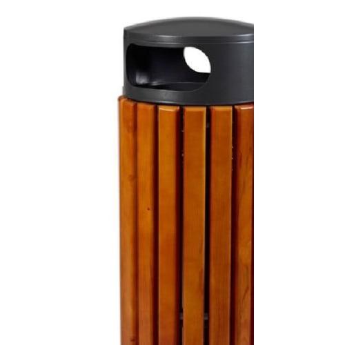Poubelle à poser bois/métal 60L photo du produit