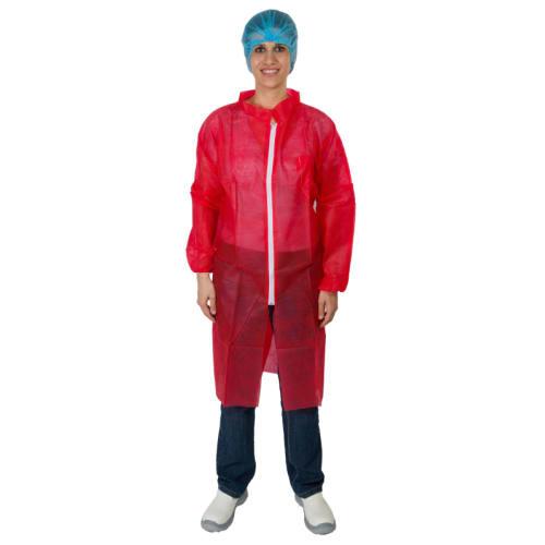 Blouse de travail PLP 25g/m² zip col chemise élastiques poignets rouge taille XL photo du produit