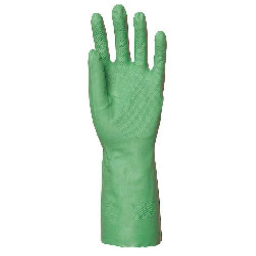 Gant de protection chimique nitrile vert flocké coton 32cm taille 7 photo du produit