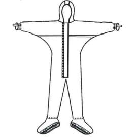 Combinaison de protection Sprayguard type 4 poignets jersey couvre-manches élastiqués surbottes semelles antistatiques élastiques cagoule taille chevilles blanc taille L photo du produit