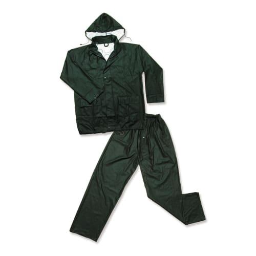 Ensemble de pluie polyester enduit PU veste et pantalon vert taille L photo du produit