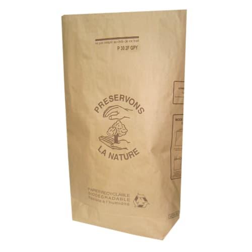 Sac papier 2 feuilles 30L traitement anti-humidité W.S avec gaine plastique intérieure photo du produit