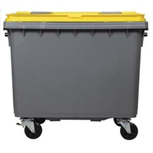 Conteneur plastique 4 roues 660L gris/jaune photo du produit Back View L
