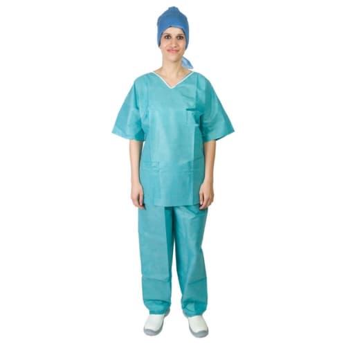 Pyjama SMS 35g/m² antistatique tunique 3 poches pantalon à liens vert taille XL photo du produit