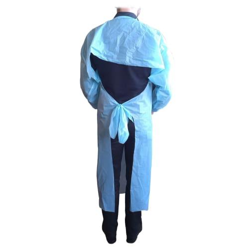 Blouse Sarrau PE bleu à liens et manches longues photo du produit Back View L